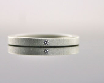 Tiny Diamond 2 mm Sterling Silver Ring -  Simple Eco Friendly Engagement Ring with Matte Finish
