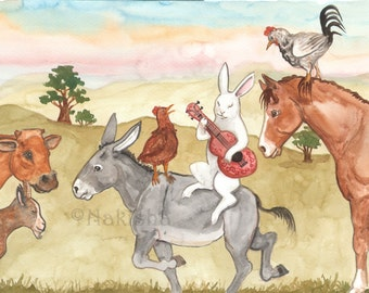 Original Art - Pasture Music - Watercolor Rabbit Painting