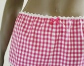 Pink And White Gingham Sleep Shorts Womens Handmade Cotton Short Pajama Pants MADE TO ORDER
