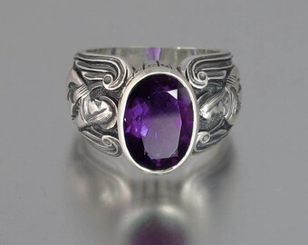size 9.5 ready to ship GUARDIAN ANGELS silver ring with Amethyst