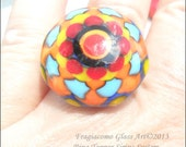 Lampwork Ring Topper, Flower Red Turquoise Yellow Artisan  Handmade SRA LETEAM Glassymom Sirius System Changeable Jewerly