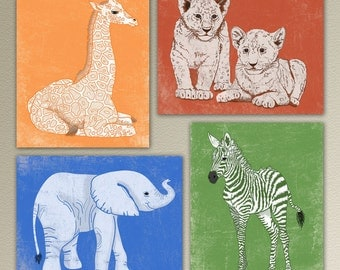 Set of Four Baby African/Safari Animal Prints. Jungle Animals. Children, kids, baby, nursery Wall Art/Decor