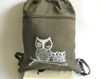 Owls Back Pack-Cinch Sack-Screen Printed Cotton Canvas, Back to School Supplies, Viva Sweet Love
