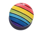 Rainbow pin or rainbow magnet, pin, or pocket mirror - 1 or 2 1/4 inch multicolor rainbow pinback button, colorful, happy, fridge magnet