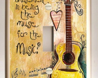 "Single Light Switch Cover Decoupage Guitar ""Muse for the Music"" in Warm Colors of Golden Yellow and Brown"
