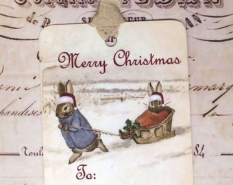 Merry Christmas Tags Rabbit Tags Snowy Tags To From Tags Vintage Rabbits