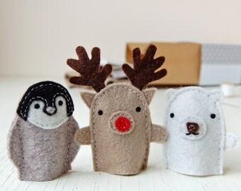 Winter Friends Finger Puppets Kit - Make Your Own - Children's Sewing Kit - Creative Activity Kit - Finger Puppet Toy - Christmas Animals