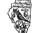 """Illinois state linoleum block print with text + state bird and flower - 9""""x12"""" wall art"""