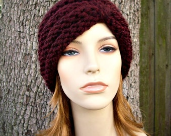 Knit Hat Womens Hat - Turban Hat Beanie in Oxblood Wine Merlot Knit Hat - Merlot Hat Womens Accessories Winter Hat