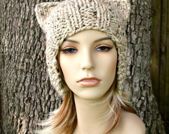 Oatmeal Ear Flap Hat Cat Beanie Knit Hat Womens Hat - Oatmeal Hat Oatmeal Beanie Oatmeal Cat Hat Womens Accessories Winter Hat