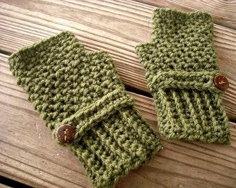 Crocheted Fingerless Gloves Mittens - Green Fingerless Gloves in Loden Green - Green Gloves Green Mittens Womens Accessories