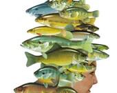 Original Art Collage on Paper Whimsical Fish Wall Art Beach Artwork Ocean Decor Nautical Theme Fish Bathroom Art