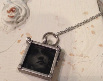 Glass Locket Necklace, Square Locket, Locket Necklace, Glass Locket, Black Locket, Black Glass Locket, Gift for Her, Black Glass Cameo