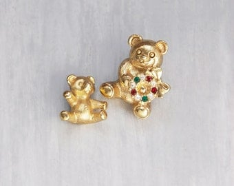 SALE! 2 Vintage Teddy Bear Lapel Pins - one with Christmas wreath - gold tone brooches