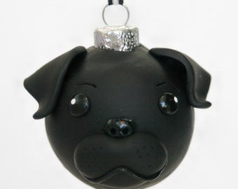 Black Pug Puppy Dog Round Tree Ornament Dog Breed Art