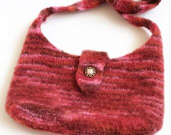Felted Tablet Bag. Merino Wool Cross Body Shoulder Bag. Unlined Handbag. e-Reader Gadget Pouch. Kindle iPad Sleeve. Boho Over Shoulder Bag