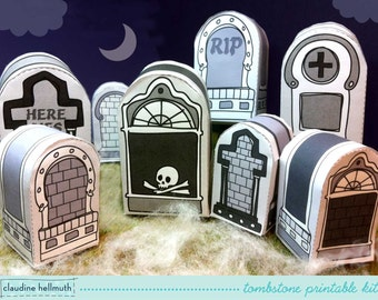 halloween tombstones - candy box, party favor box & place setting marker, table centerpiece printable PDF - INSTANT download