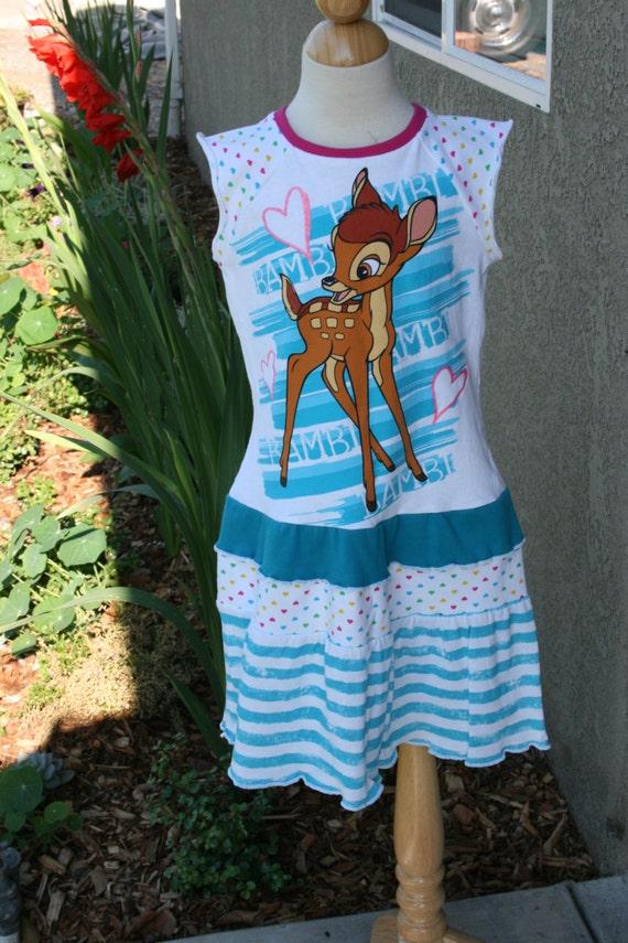 BAMBI Upcycled Boutique Girls T-Shirt Dress