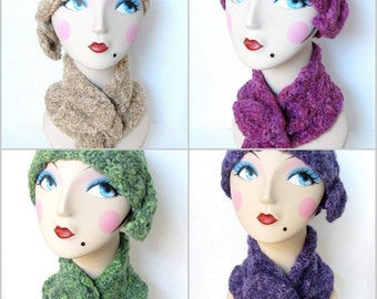 Women Merino Wool Cloche Hat and Matching Ascot Scarf - Choice of Hat and/or Ascot Scarf and Color
