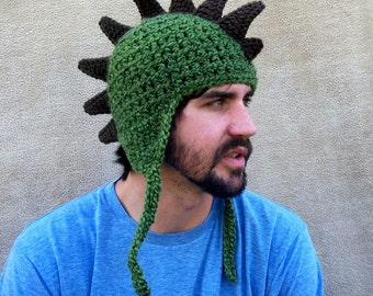 Crocheted Dragon Hat  - Dinosaur Hat, Rawr, Animal Hat, Olive Green, Fun Gift for Him, Costume for Grown - Ups