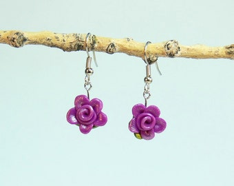 Rose Floral Earrings - 2DD - Bright Fuchsia - Polymer Clay - (DAYSTAR) Katherine Kowalski jewelry