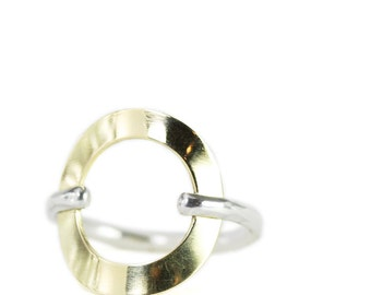18k gold and sterling silver karma ring
