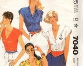 McCall's 7040 Four Fitted Blouses - V Neck, Revers, Scarf-like Collar and Sailor Collar