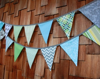 Boy Fabric Flag Bunting, 7 Large Fabric Pennant Flags Featuring Light Blue, Gray, Green, Designer's Choice, Add Letters Optional.
