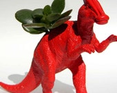 Jurassic Dinosaur Planter Dorm Decor Bright Red Color Great for Dorm Rooms or College Gifts