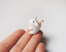 Little White Mouse Miniature Totem Polymer Clay Figure