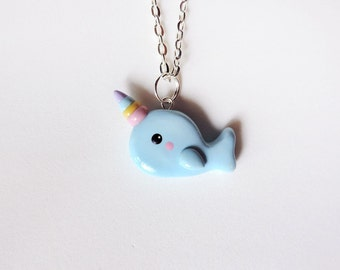 Rainbow Horn Blue Narwhal Necklace Kawaii Polymer Clay Jewelry