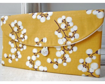 Gold Clutch, Yellow Clutch, Mustard Clutch, Floral Clutch, Spring Wedding Bridal Clutch, Bridesmaid Gift, Bridesmaid Clutch, Makeup Bag