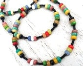 Long Multi Gemstone Necklace, Multicolored Jewelry, Swingy or Doubled