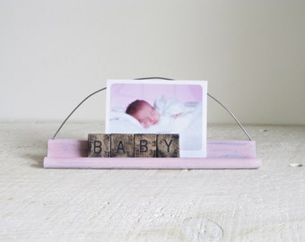 Photo Holder Made From Scrabble Game Pieces - Spells BABY