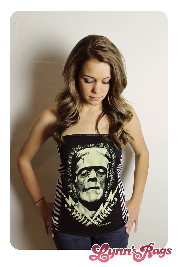 frankenstein tube top handmade shirt diy by lynnsrags on etsy. Black Bedroom Furniture Sets. Home Design Ideas