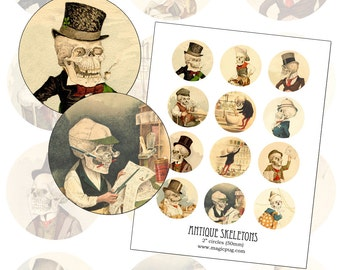 """Antique Skeleton digital collage sheet two inch 2"""" circle 50 mm 50.8 mm circles rounds 2 inch"""