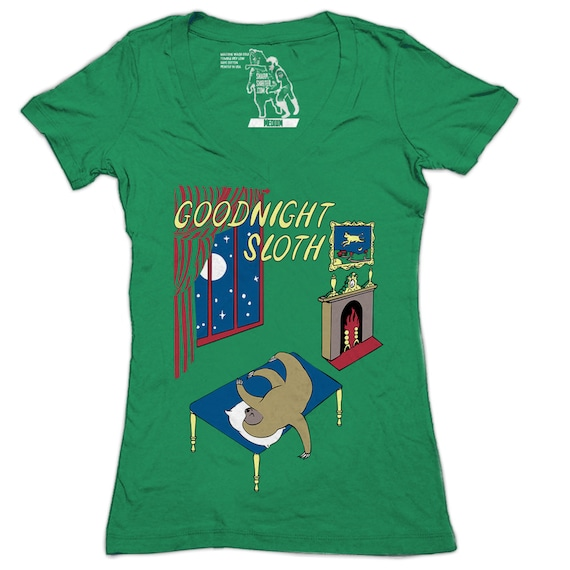 Women's Goodnight Sloth Vneck T-shirt, Goodnight Moon, Slothzilla, Womens Deep V, Funny, Sloths, Animal Tees, Gift for her, Available S-2XL