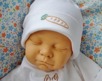 Peter Rabbit Knotted Newborn and Baby Cap - Hand Embroidered (Made to Order)