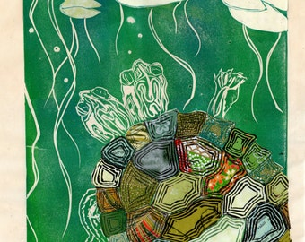 Two-Headed Turtle VI - Block Print with Mixed Papers - Collaged Linocut on Japanese Papers, Turtle with Two Heads