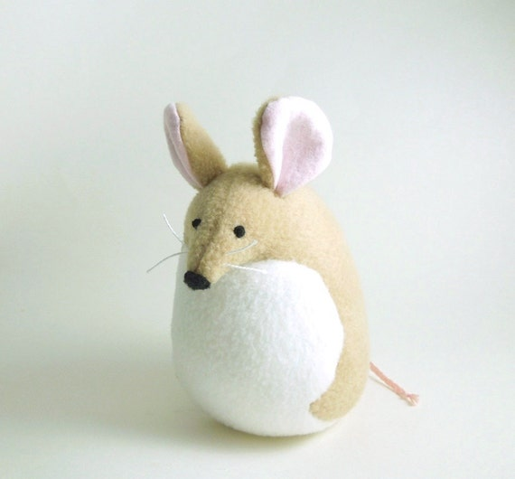 Large Tan Mouse Handmade Stuffed Animal Kids Plush Rat