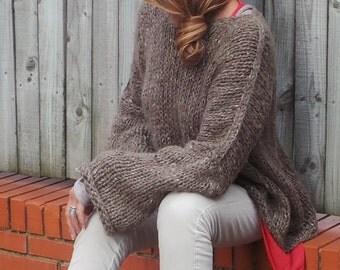 dark brown fleck chunky hand knit hat