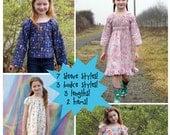 PDF SEWING PATTERN - The Ramblin' Raglan Mega Pack - size 18-14 - peasant dress, nightie pattern, girls dress, toddler dress, peasant dress