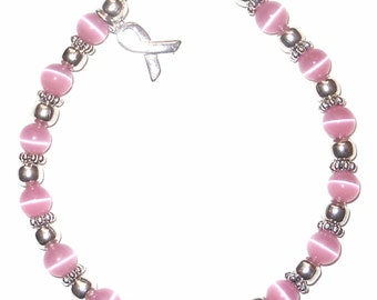 Pink Breast Cancer Awareness Packaged Bracelet - 6mm