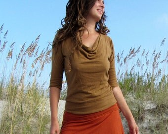 Organic Float Neck Banded Shirt (light hemp/organic cotton knit) - organic shirt
