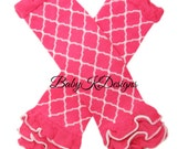 Hot Pink Lattice Quatrefoil Leg Warmers. Baby Legwarmers.Girls Pink n White Cheerleader Ruffle Slouchy Footless Socks   Dress Up Dance Cheer