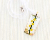 Glass photo pendant. Australia wildflowers golden yellow wattle acacia spring fashion jewellery 18k gold bail.