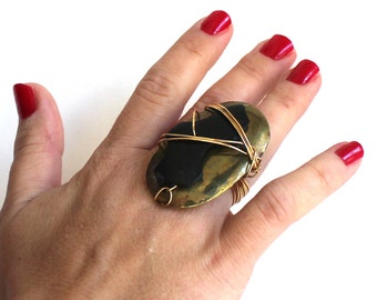 Petrified Wood and Bras Ring that Rocks size 6