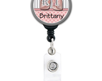 Retractable ID Badge Holder - Respiratory Therapist RT - Personalized Name Badge Reel