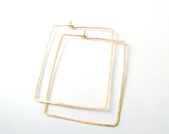 square hoops rose yellow gold or sterling