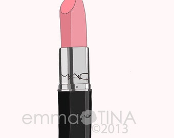 Pretty in Pink Lipstick Fashion Illustration Art Print
